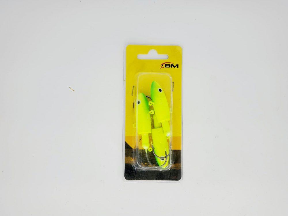 tête de jig torpedo fluo vert et jaune 2oz