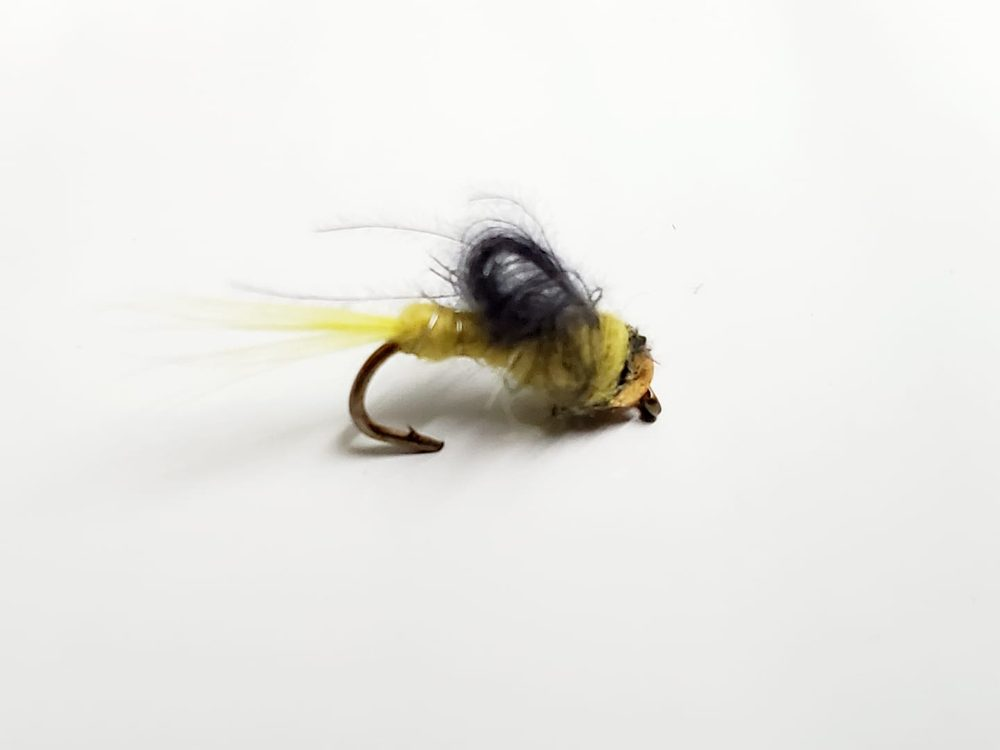 mouche bead head jaune